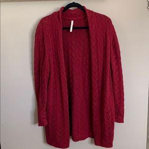 Dark red cardigan sweater